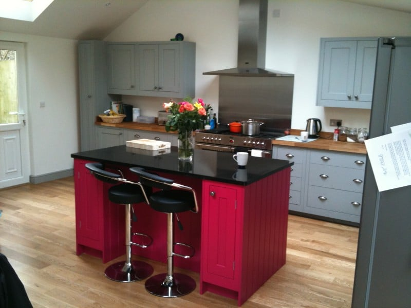 Red contemporary kitchen island