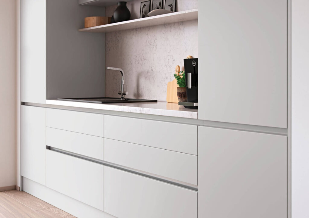 Ebbor Handleless Kitchen in Light Grey