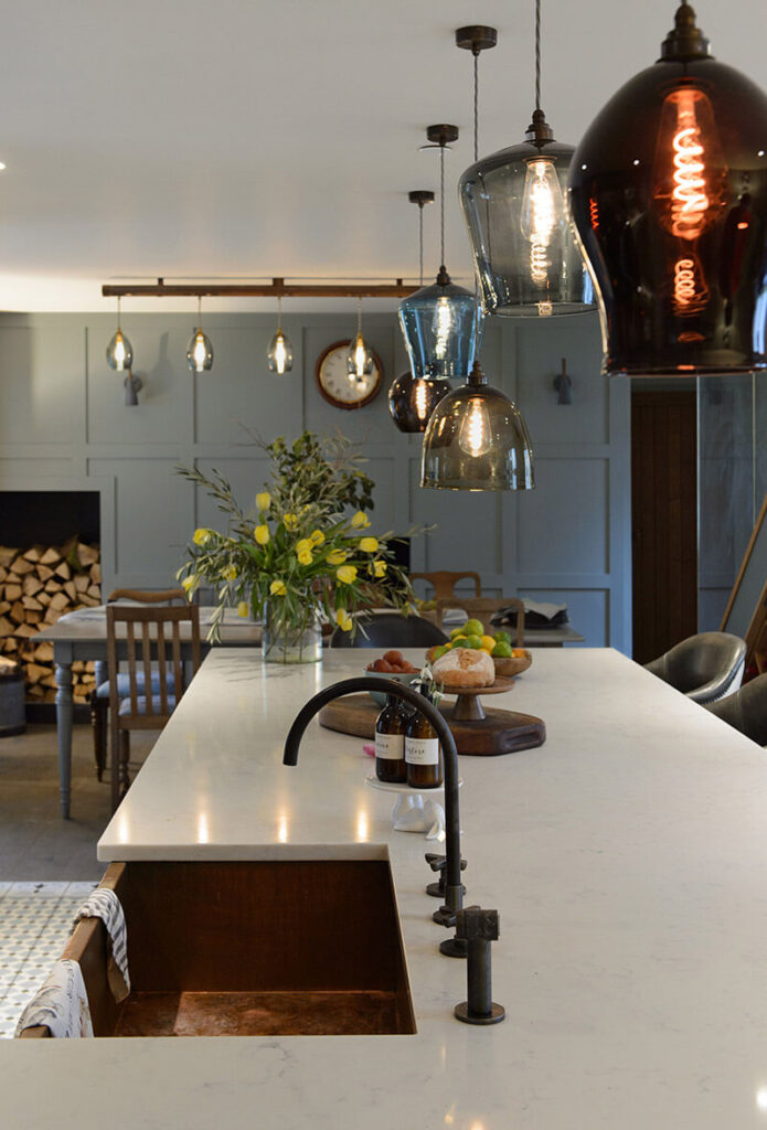 The centrepiece of the kitchen, an enormous 3.6-metre-long island