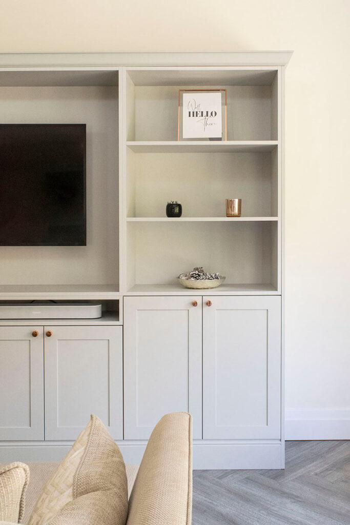 The TV unit used the same shaker door style to blend in with the rest of the kitchen