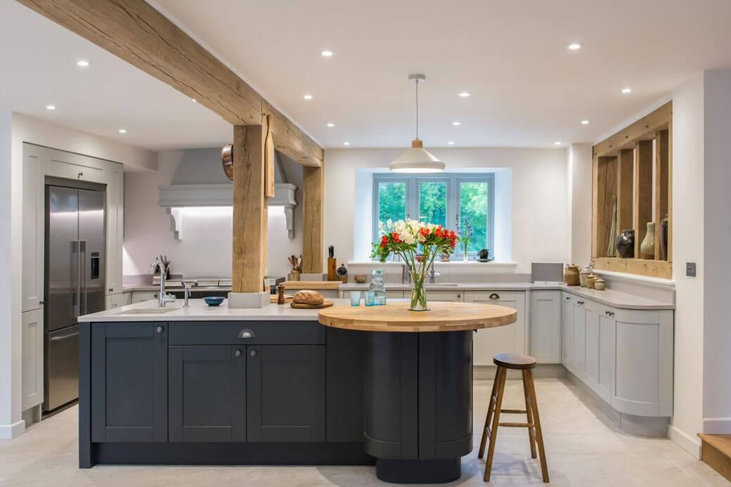 A stunning U shaped farmhouse kitchen