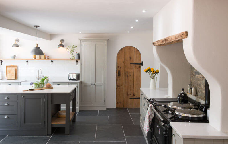 Country kitchen with AGA and rustic oak doors
