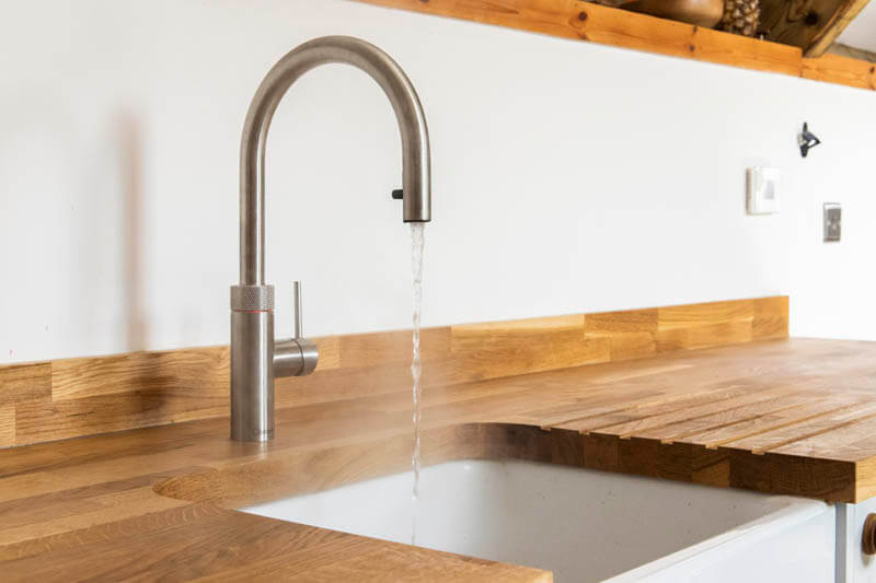 This Quooker tap provides instant hot water